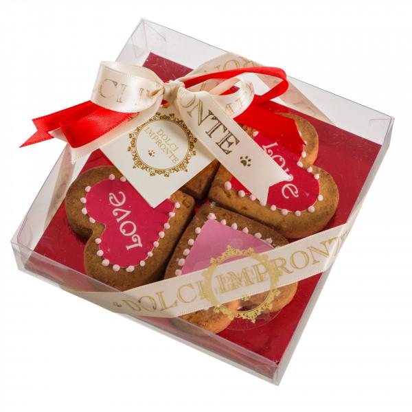 Dolcimpronte - LOVE FOUR HEARTS - Confezione 4 pezzi - 85 gr ( ASL Prot.0088901/16)