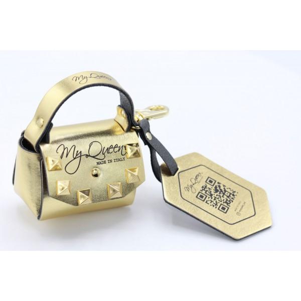 MQ- Mini Bag - Ecopelle -Laminato Oro con Borchie