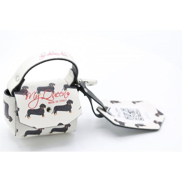 MQ- Mini Bag - Ecopelle Stampata Bassotto - Avorio