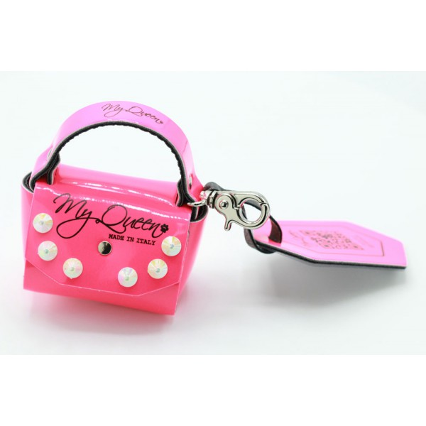 MQ- Mini Bag - Faux Leather - Fluo Pink with Studs