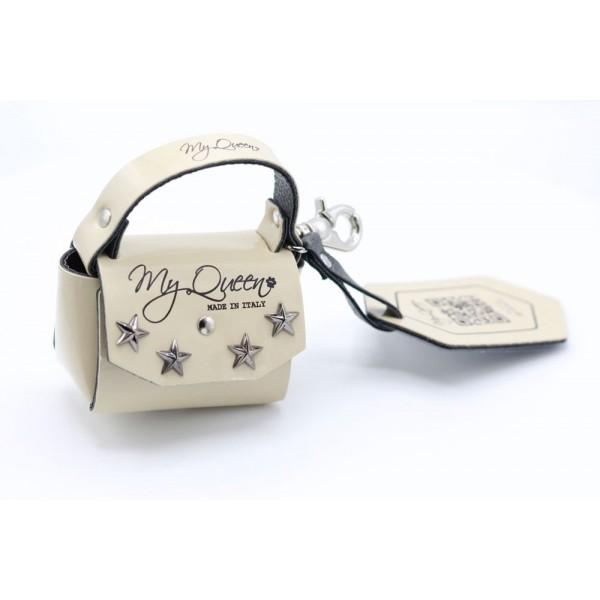 MQ- Mini Bag - Faux leather- Beige Patent and Studs