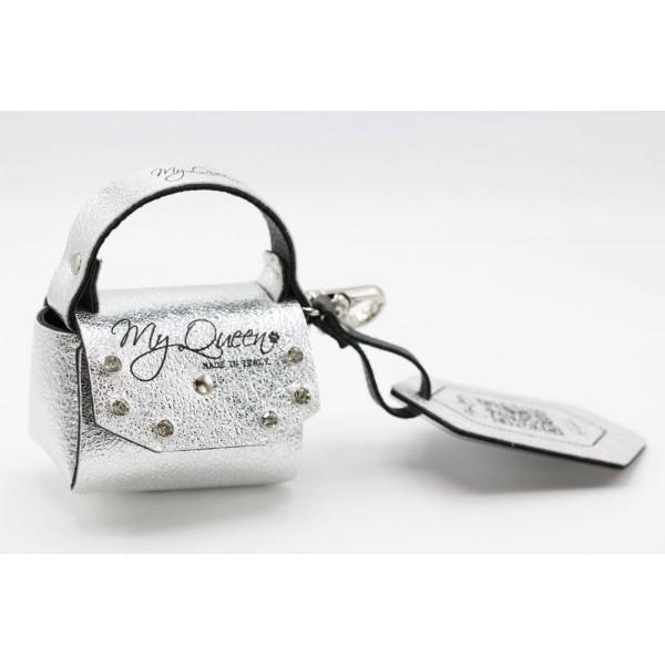 MQ- Mini Bag - Faux leather- Silver Laminate with Studs