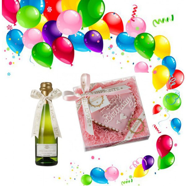 Dolci Impronte® - Birthday Set - Pink Heart Cake and Special Cuvee