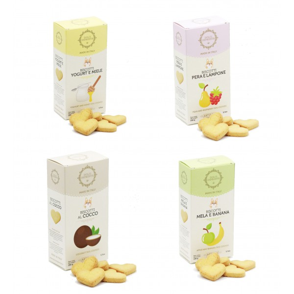 Dolci Impronte® - Pack of 4 Boxes 150 gr Flavored Biscuits Mix Various Flavors