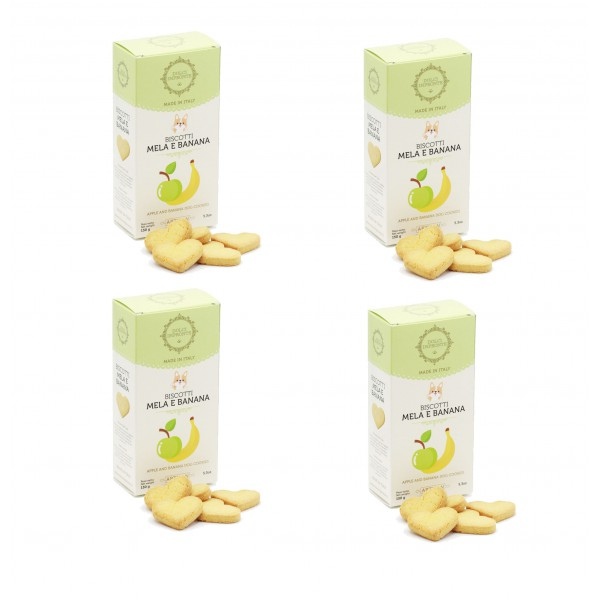 Dolci Impronte® - Pack of 4 Boxes 150 gr Apple Banana Flavored Biscuits
