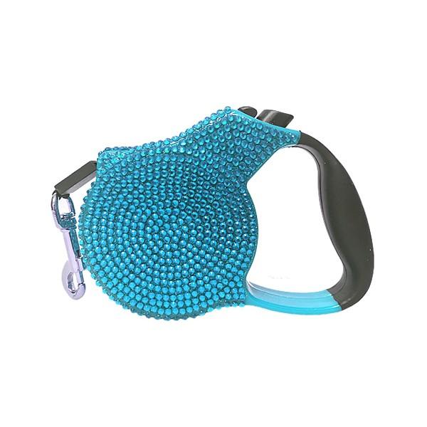 PP- Extendable Leash With Rhinestones - Light Blue -